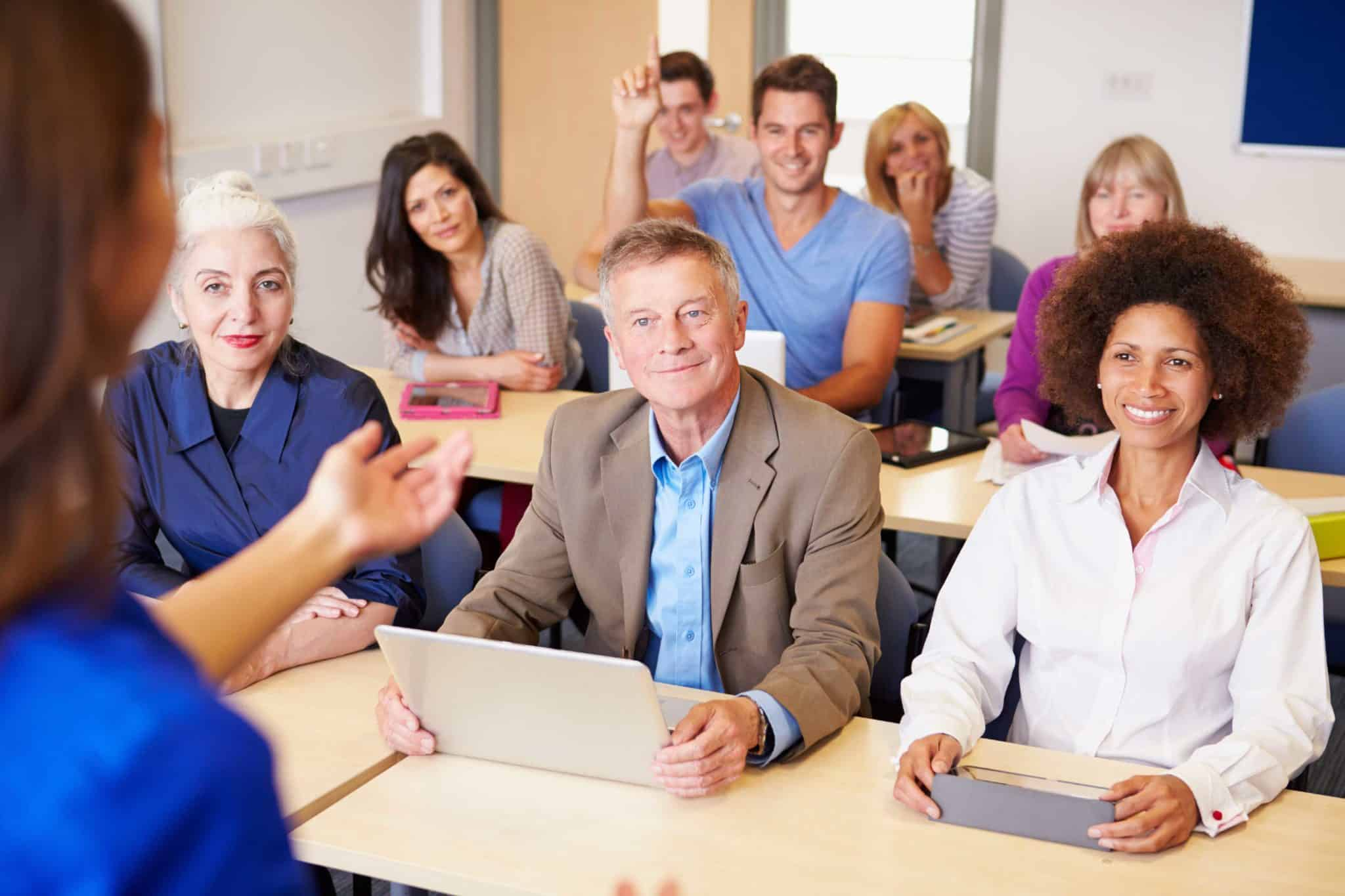 Adults in a classroom