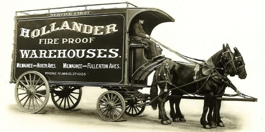 Old Hollander Moving Horses and Carriage