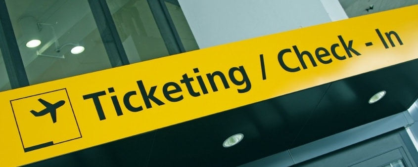 Ticketing/Check-in Airport sign
