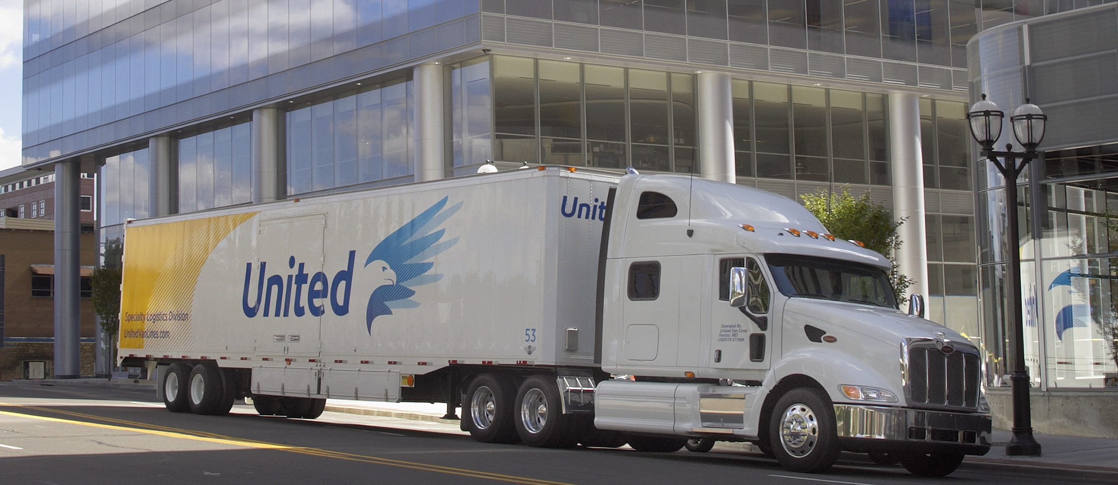 United truck park in front of office building