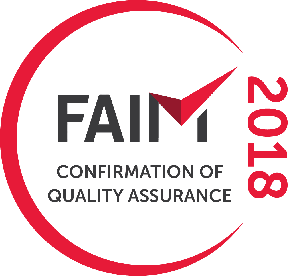 FAIM 2018 Confirmation of Quality Assurance